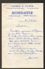 "ERNEE (53) CYCLES VELOS & MOTOS / Accessoires & Réparations ""HOUDAYER"" en 1962"