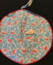 VINTAGE TURQUOISE & RED FEEDSACK FABRIC LINGERIE BAG