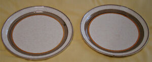 """""""Carrigaline"""" Pottery dinner plates x 2 - beige and brown speckled design -26cms"""