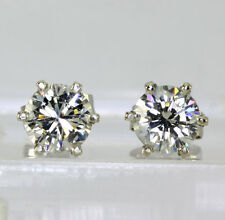 Diamond stud earrings 14K white gold H-I color round brilliants 1.36CT studs NEW