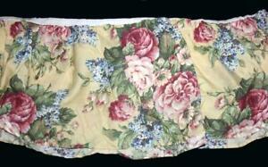 VTG Martha Stewart Colorful Shabby Floral Lilac Garden Roses King Bedskirt NIP