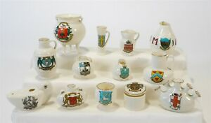 Vintage Collection of 13 Miniatures W.H. Goss Crested China & Victoria J R & Co