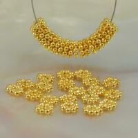 Lot 20 Daisy Bali Spacer 4.0 mm Beads 1.60 g Gold Vermeil 24K on Sterling Silver