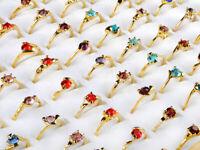 100Stk Damen Mädchen Kinderringe Bunt Kristall Strass Ringe Kinderschmuck Mode