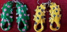 Gecko Wood Earrings 2 Pair Lot Hand Painted Green Pink Dots & Yellow Black Dots