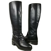 Tory Burch women boots Miller Pull-on partial zip black Leather logo size 6 new