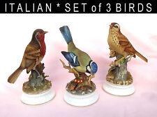 * 1970s * Alfretto ITALY * SET 3 BIRD FIGURINES * BLUE TIT * THRUSH * ROBIN *