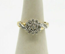 Gorgeous 9ct Yellow and White Gold Diamond Engagement Cluster Ring ring size L.5
