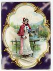 Waterloo NY SUMMIT RANGE Stove 1880's VICTORIAN Trade Card PRETTY LADY photo