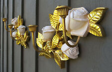 2 Gold/ Brass Tone Syroco 2 Arm Wall Candle Sconces Cabbage Rose Hollywood Reg.