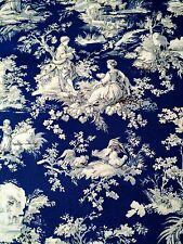 1 yd Deep Blue French Toile Drapery Upholstery Fabric Waverly Screen Print