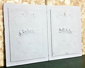 Pair ribbon basket decorative carving panel antique french architectural salvage