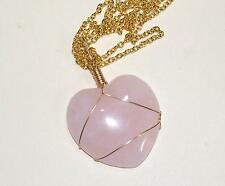 Rose Quartz Stone silver Wire wrapped Healing Heart Chakra Crystal Pendant