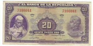 COLOMBIA,- $20 pesos oro ''BANCO DE LA REPUBLICA'' >1950>7 DIG.  BANKNOTE,-