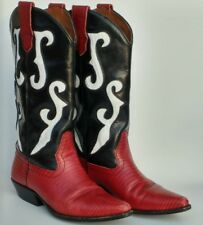 NINE WEST Red Black White Leather Lizard Romnee Cowboy Cowgirl Western Boots 6.5