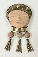 VINTAGE ANNETTE NANCARROW PRE-COLUMBIAN CLAY AND BRASS BROOCH/NECKLACE PENDANT