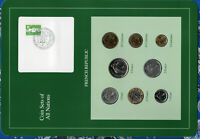 Coin Sets of All Nations France w/card 1975-1990 UNC 5,10 Francs 1990 1 Franc 75