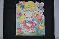 Vintage EASTER BUNNY BOY & GIRL EMBOSSED Easter Card EGG The DA Line for GIRL