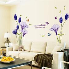 Wandtattoo Aufkleber Deko Lila Blumen  romantisch Wohnzimmer sticker#9212