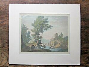 1788 Francis Jukes Aquatint Antique Print Mediterranean Landscape Sea or Lake