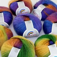 AIP Soft Cashmere Wool Colorful Rainbow Wrap Shawl DIY Hand Knit Yarn 50grx8 01