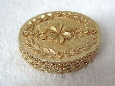 Vintage Gold Tone TouJours Moi Corday Solid Perfume Floral Wreath Empty T8