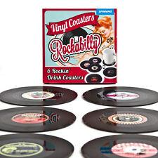 ROCKABILLY VINYL RECORD COASTER SET 6 DRINKS MATS RETRO MUSIC NOVELTY GIFT PARTY