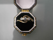 Women's Gold Three-Stone Ring 9ct Hallmarked Cubic Zirconia Stones W3g Size L