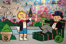 Alec Monopoly Oil Painting on Canvas  art Decor,Beverly Hills Hotel Neon 48×72in