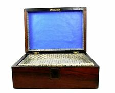 Early 20th C. Mahogany Jewellery Trinket Sewing Work Box Mother Of Pearl Inlay