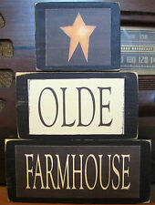 Olde Old Farmhouse Country Primitive Rustic Stacking Blocks Wooden Sign Set