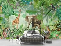 3D Tropical Jungle Animal Elephant Wallpaper Wall Murals Removable Wallpaper 360