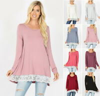 Women's Jersey Knit Tunic Top Flowy Lace Hem Long Sleeve Loose Soft Shirt Boho