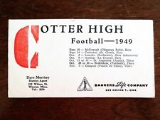 1949 Winona Cotter High School Football Schedule Blotter MN Banker Life Company