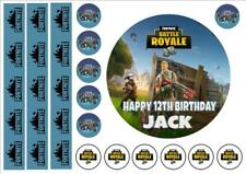 """FORTNITE fr2 EDIBLE 6"""" ICING PERSONALISED CAKE TOPPER inc ribbons  INC FREE GIFT"""