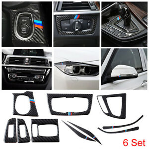 6pcs For BMW 3 4 Series F30 F34 2013-2019 Carbon Fiber Cover Frame Accessories