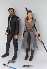 "Star Wars Black Series Captain Poe Dameron & Rey 6"" Figures Lot Loose Hasbro"