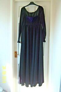 "LADIES LONG BLACK DRESS PURPLE INSERT SIZE 10/12 SEE BELOW BACK ZIP 55"" LONG"