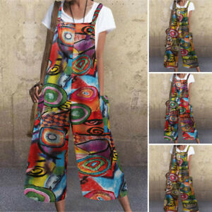 Womens Jumpsuits Summer Hippie Dungarees Wide Leg Loose Floral Overall Rompers