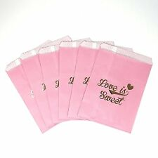 48 Love is Sweet Pink and Gold Food Candy Treat Party Favor Bags 5x7 Gift Bag