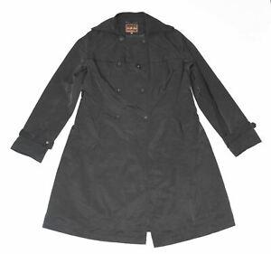 Women's Vintage GIULIA LISA Knee Length Black Cotton Blend Trench Coat Mac UK16