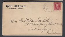 USA 1912 HOTEL MAKEEVER COVER RENSSELAER TO INDIANAPOLIS INDIANA