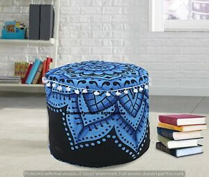 Indian Poufs Cover Mandala Round Ottomans Pouffe Case Hippie 22'' Beans Bags