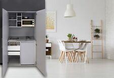 Cucina Armadio Mini Cucinino Singolo Blocco Grigio Argento Respekta