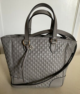 New Gucci Women GG Monogram Mini Leather Shoulder Bag Handbag Gray 449241  Italy