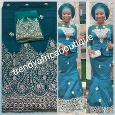 Superior Quality Embroidery Silk George fabric in teal green. Nigerian wedding