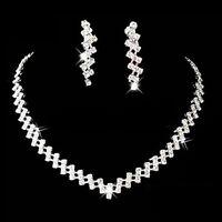 Kristall Strass Schmuck Set Halskette+Ohrringe Brautschmuck Hochzeit Silber Mode
