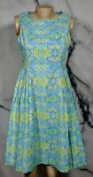 CHADWICKS OF BOSTON Blue Green White Paisley Sleeveless Dress 8 Cotton Blend