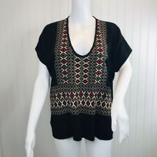 Madewell Size Medium Black Sweater NEW Embroidered Diamond Weave Short Sleeve