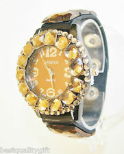 GENEVA BLACK PATENT LEATHERETTE BAND+ROSE GOLD,AMBER,BROWN CRYSTAL DIAL WATCH
